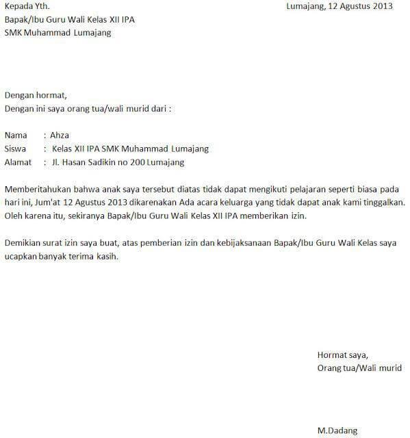 Contoh Surat Izin Sekolah SMA Karena Urusan Keluarga