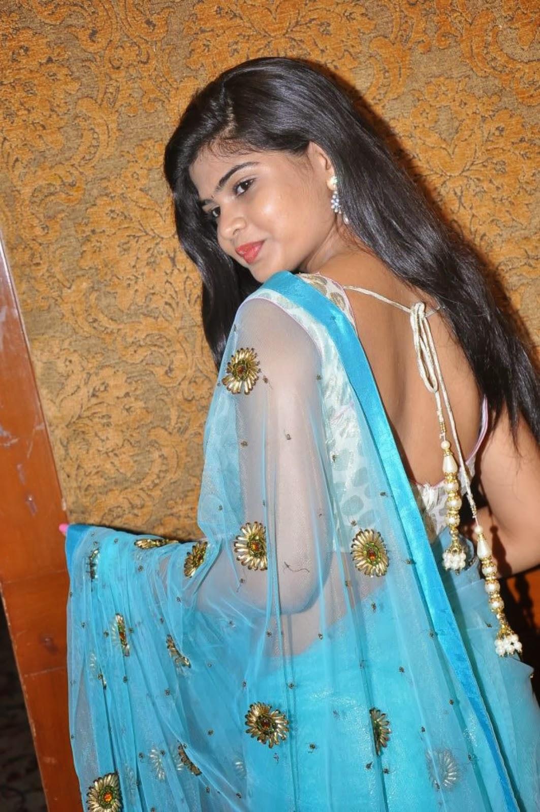 Actress Alekhya Transparent Saree Photos  Actress Saree -5488