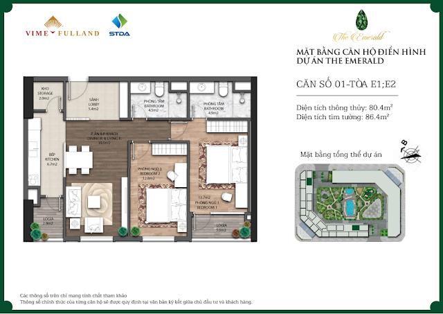 Thiết kế căn hộ 01 - Tòa E1 - E2 The Emerald