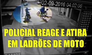 [VÍDEO] LADRÕES LEVAM A PIOR AO TENTAR ROUBAR MOTO DE POLICIAL
