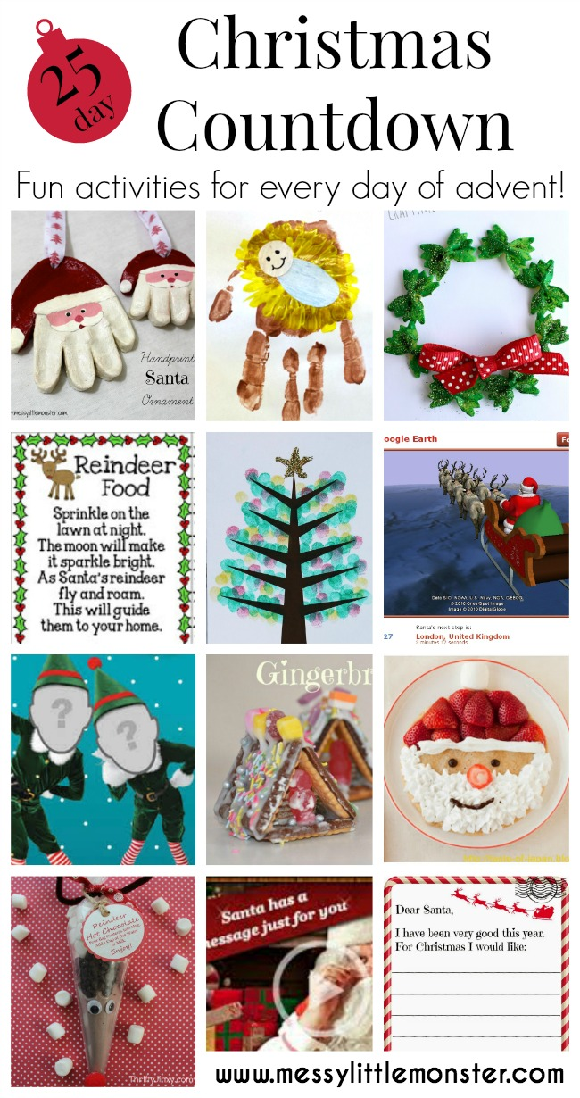 Christmas advent countdown.  Fun Christmas craft and activity ideas for every day of advent. Perfect ideas for toddlers, preschoolers and older kids.