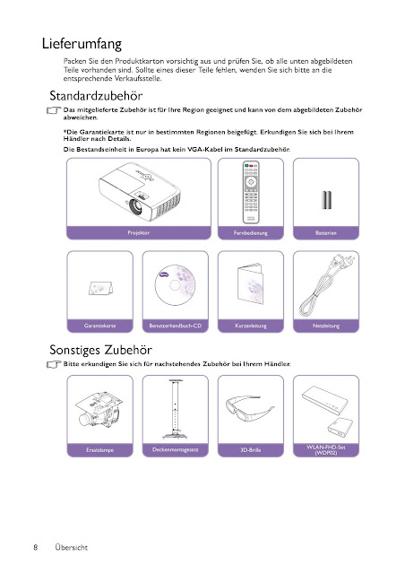 Lieferumfang Beamer BenQ TH683 Full HD 3D DLP-Projektor