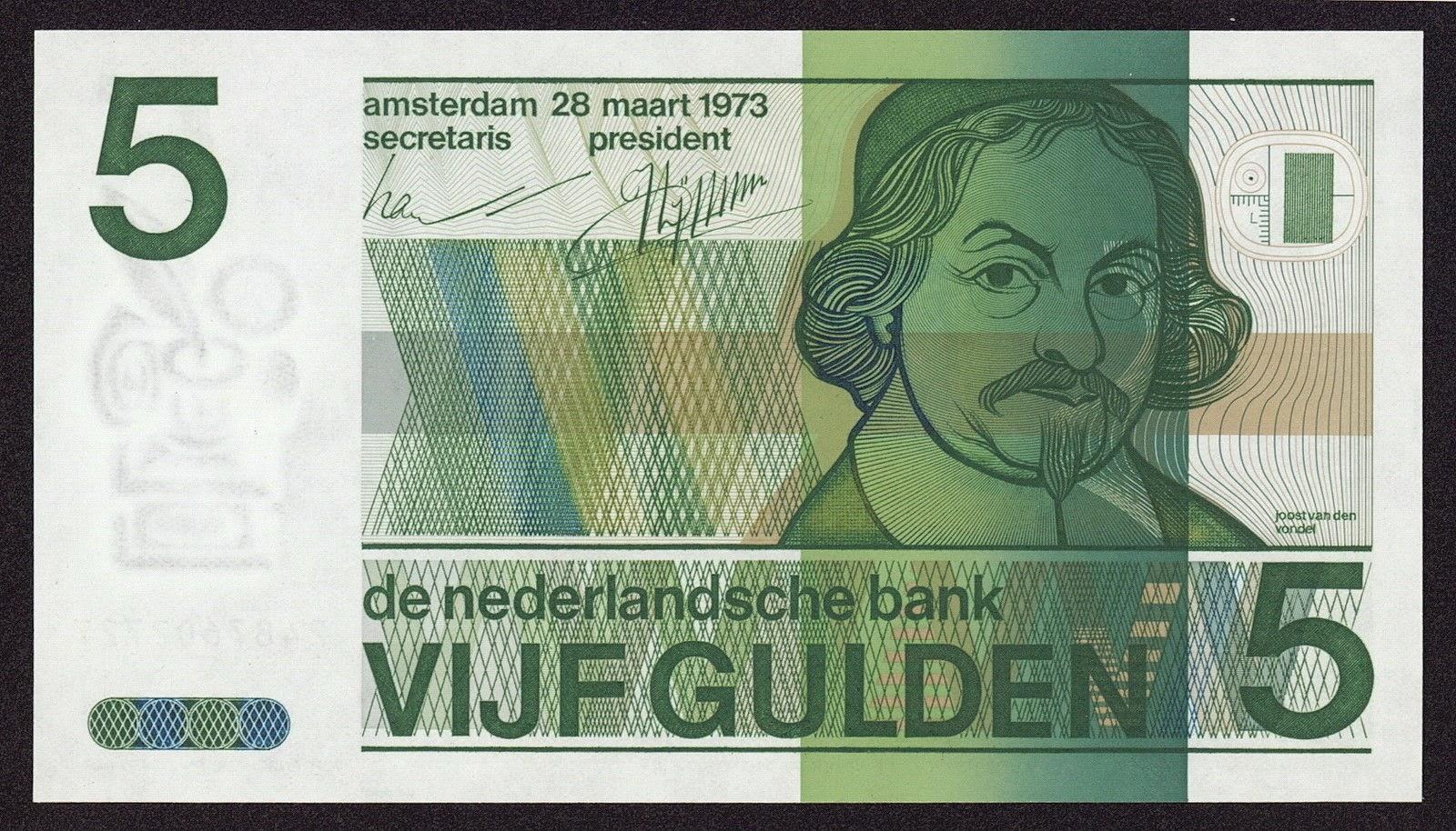 Netherlands Banknotes 5 Gulden Banknote 1973 Joost van den Vondel