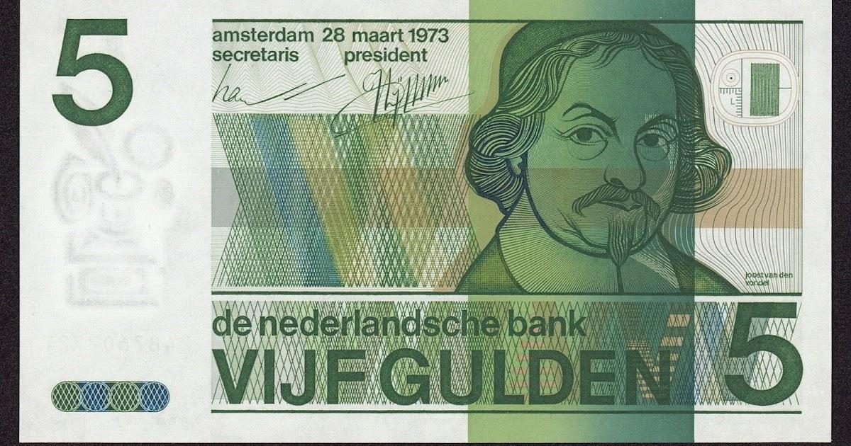 Netherlands 5 Gulden Banknote 1973 Joost Van Den Vondel