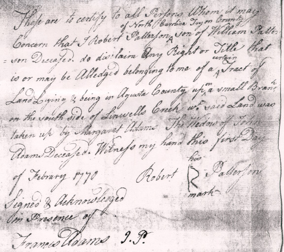 1770 Letter of Disclaimer of Margaret Adams land by Robert Patterson