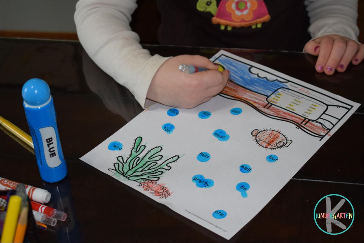 Kindergarten Worksheets And Games Kindergarten Sight