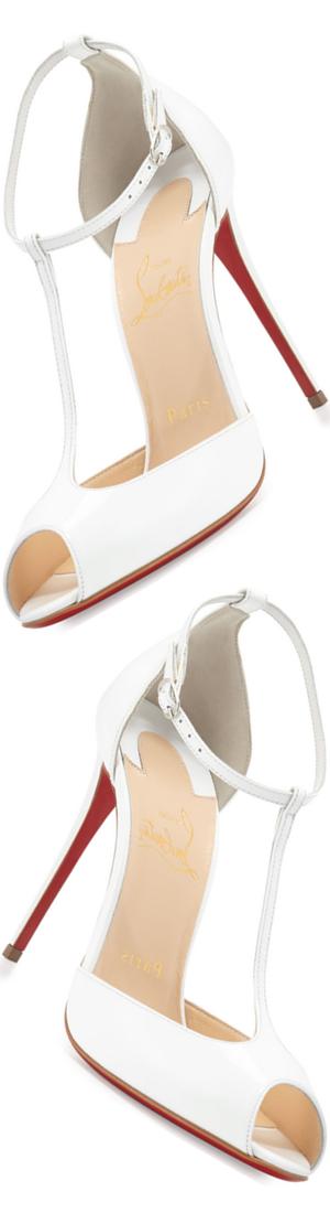 Christian Louboutin Senora Patent 100mm Red Sole T-Strap Sandal,