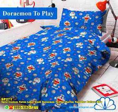Sprei Custom Katun Lokal Anak Doraemon To Play Kartun Karakter Pattern Biru