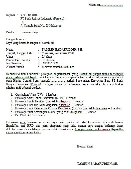 contoh surat lamaran kerja di bank bri silop