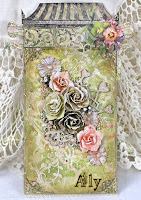 Shabby chic mixed media Tag / Wall Decor step by step video tutorial, featuring Rebecca Baer stencil.