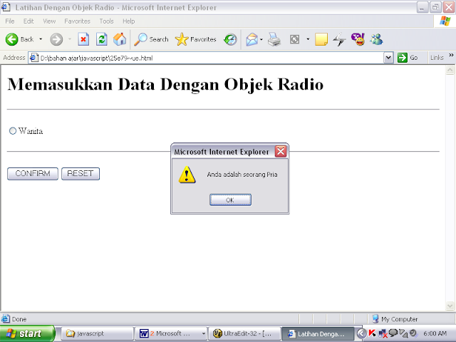 SOURCE CODE Program Memasukan Data dari Objek Radio JavaScript