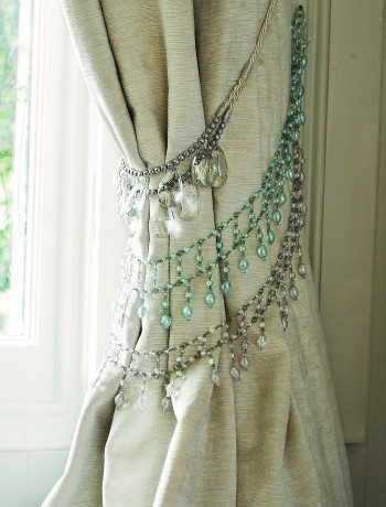 Add Bejeweled Accents Like These Crystal Necklaces Used As Curtain Tiebacks