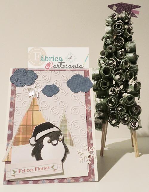 Tarjeta paisaje navideño con pingüino y árboles falsos