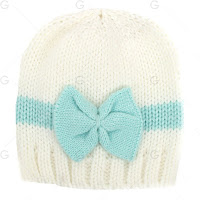 Chic Color Block Bowknot Knit Beanie Hat Baby Girls Infant Sweet Photography - Blue And White