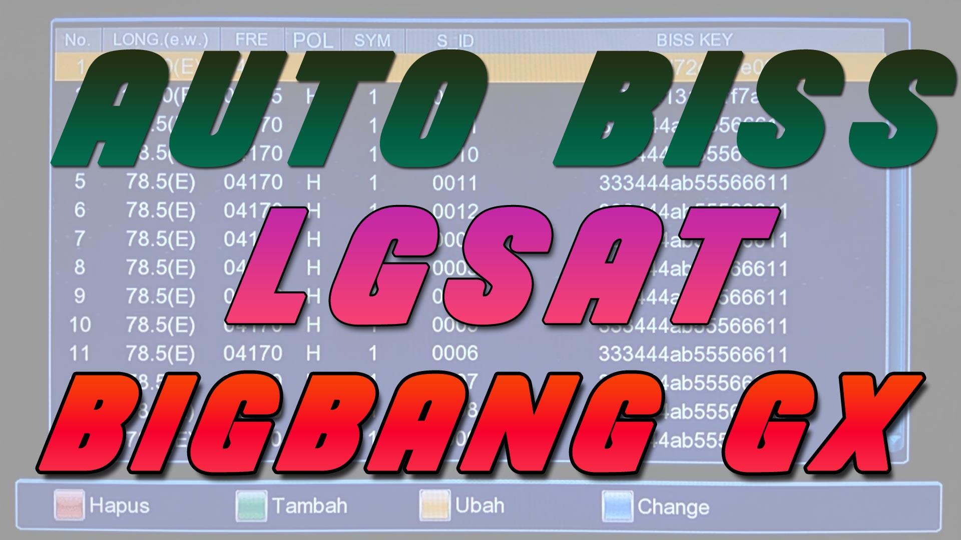 Cara Menggunakan Auto Biss Key di Lgsat Bigbang Guoxin GX6605S