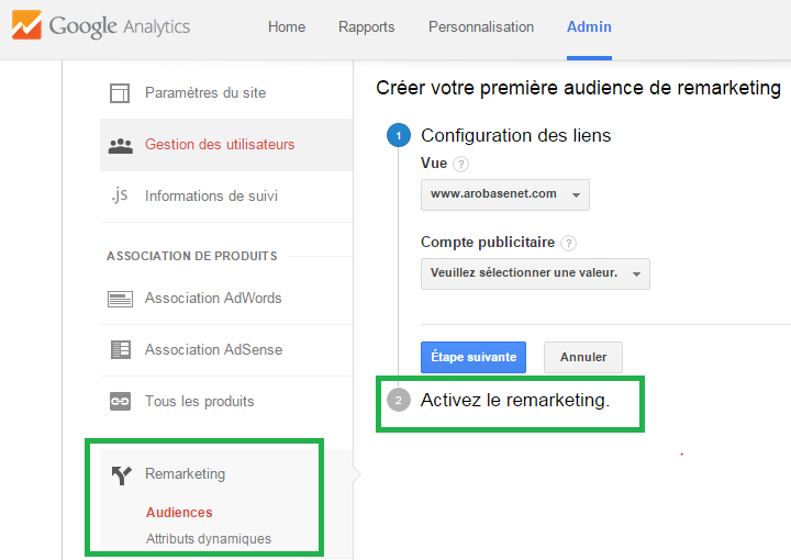 Activer le remarketing dans Google Analytics