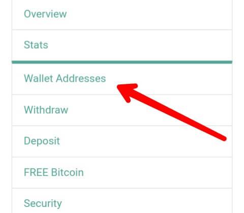 Jika sudah Login silahkan anda pilih menu Wallet Addresses