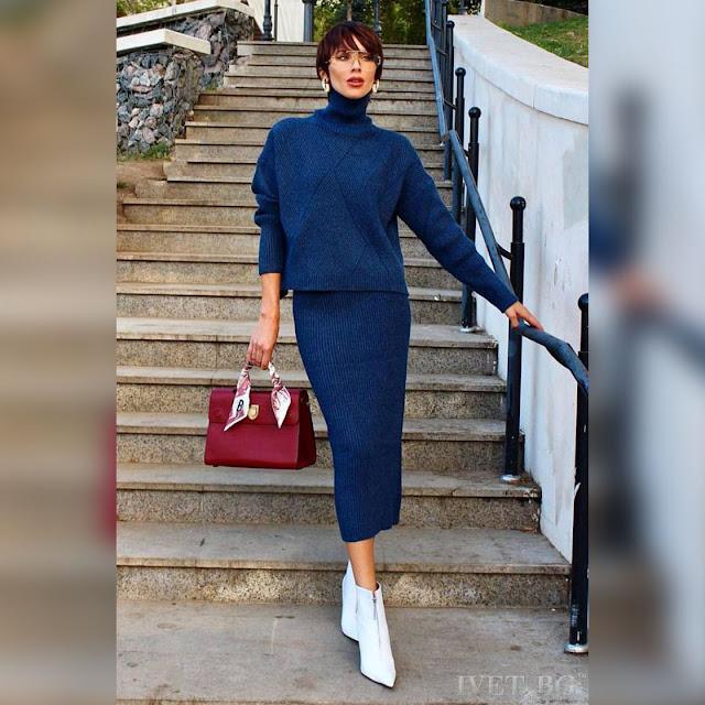 Γυναικείο μπλε σύνολο OPAL - Μπλούζα και φούστα