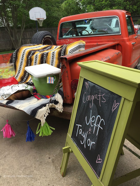 truck bed as party serving table