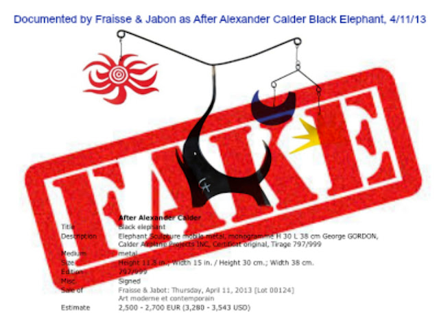 Documented as After Alexander Calder Black Elephant by Fraisse & Jabon, 4/11/13