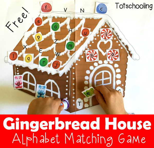 Gingerbread House Alphabet Matching Printable