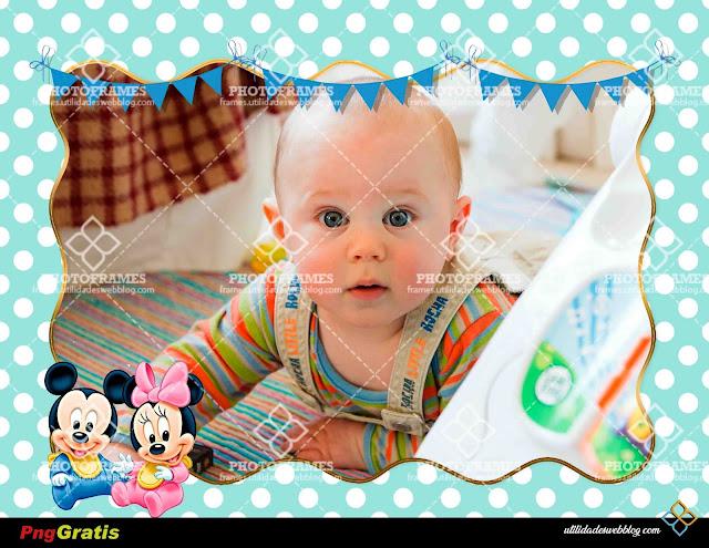 Bonito portaretrato para hacer fotomontajes infantiles de Baby Mickey y Baby Minnie