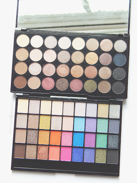 Top: Makeup Revolution Ultra 32 shade eyeshadow palette in Flawless. Bottom: Makeup revolution Makeup Geek Eyeshadow palette