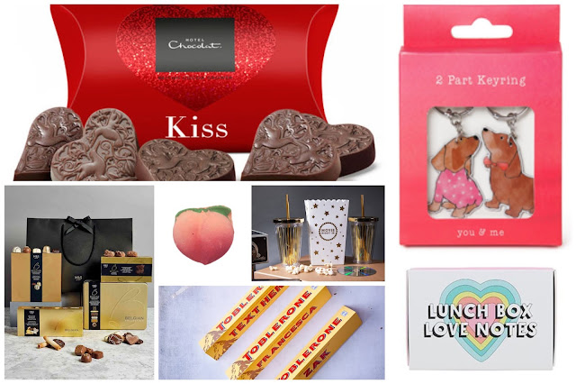 collage - Hotel Chocolat chocolates, M&S chocolate hamper, personalised toblerone bar, lunch box notes, lush peach bath bomb, keyrings