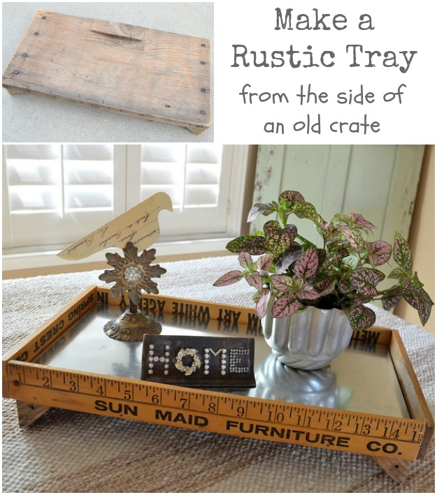turn the side of a rustic old crate into a one-of-a-kind tray