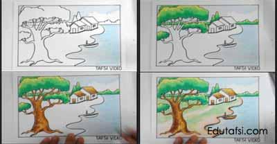 Mewarnai pemandangan pohon besar dan danau