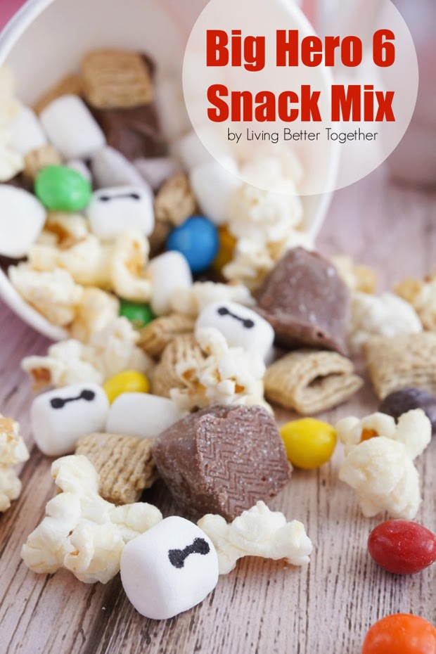 snack mix, snickers, popcorn recipe, baymax, family movie night