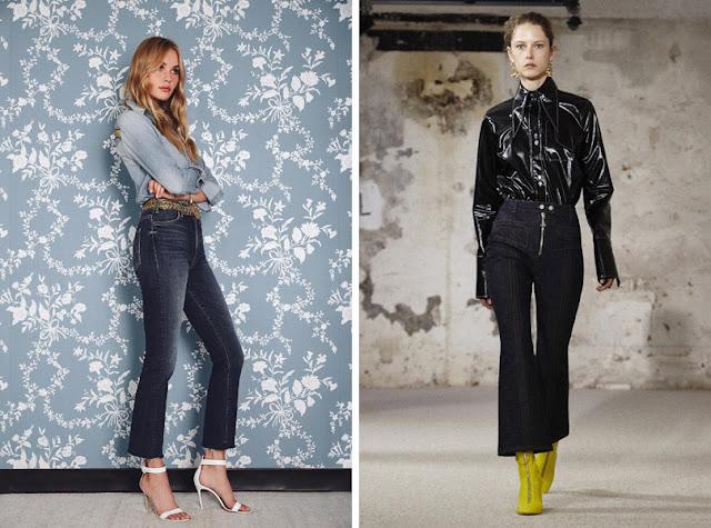 Девушки в укороченных джинсах клеш с не подшитым низом
