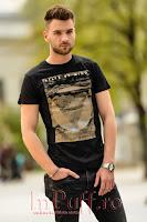 Tricou negru de barbat cu imprimeu