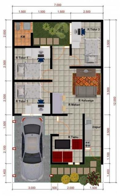 Koleksi Denah Rumah Minimalis Ukuran 7x12 meter
