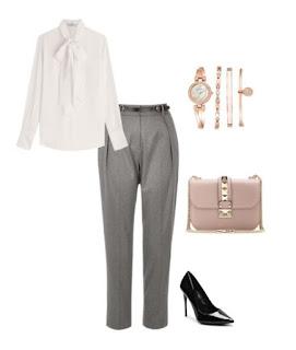 Calças cigarette cinza, pumps pretos, camisa branca com laço, mala a tiracolo rosa suave e conjunto de relógio e pulseiras
