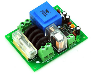 220Vac Mains Power ON Delay Soft-start Protection Module, with 12 Vdc Regulator.
