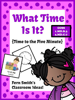 Fern Smith's What Time Is It Center Game - Time To the Five Minute for Valentines