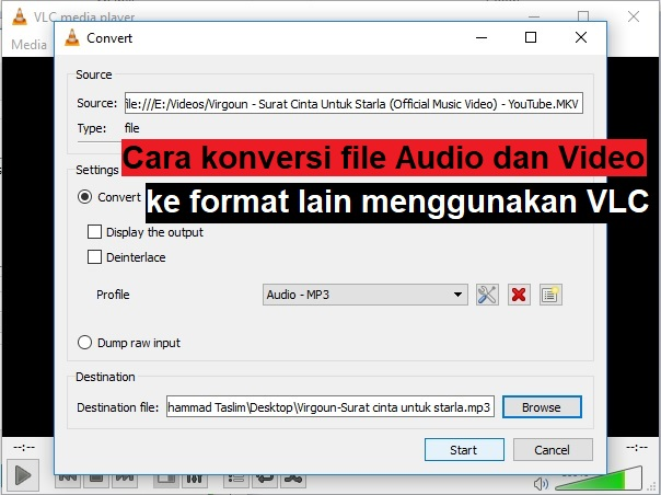 Cara mengkonversi file Audio dan Video ke format lain menggunakan VLC