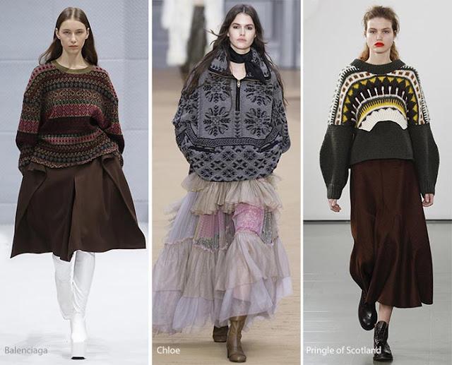 Образы со свитером оверсайз и широкой юбкой с подиума