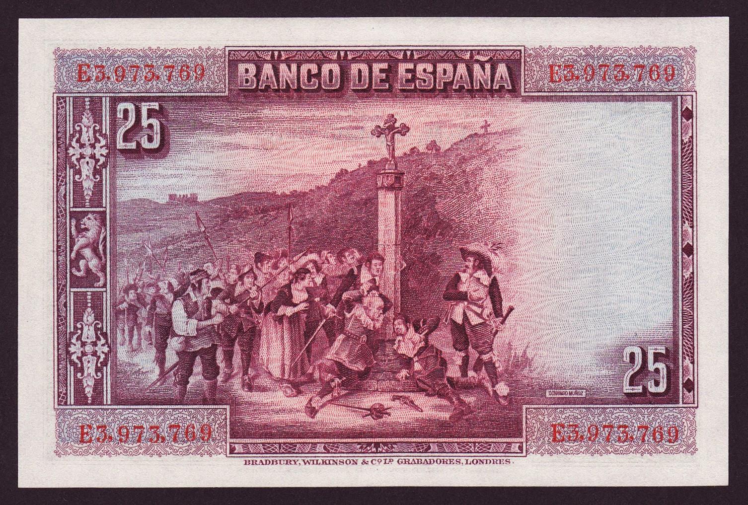 Spain money currency 25 Pesetas banknote 1928