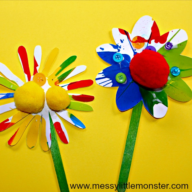 Rainbow Flower Craft For Kids Using A Fun Spin Art Painting Technique Messy Little Monster