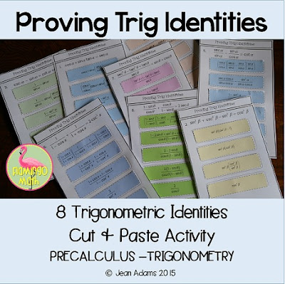 This Cut & Paste activity is designed for students enrolled in PreCalculus or Trigonometry. It can also be a refresher for Calculus students. The lesson includes 8 trigonometric identities.