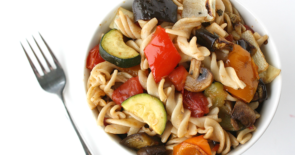 The Garden Grazer Roasted Vegetable Pasta with Garlic and