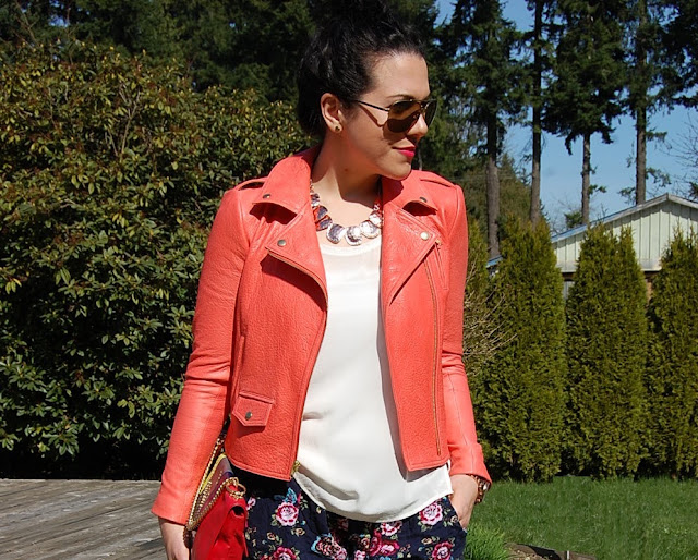 Coral leather Theory jacket, Club Monaco silk tank, Walmart shorts, Topshop heels and a Halston Heritage clutch.