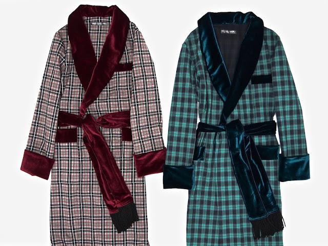 Mens plaid dressing gown tartan smoking jacket robe wool cotton velvet
