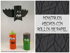 Monstruos de Halloween hechos con rollo de papel higiénico reciclados