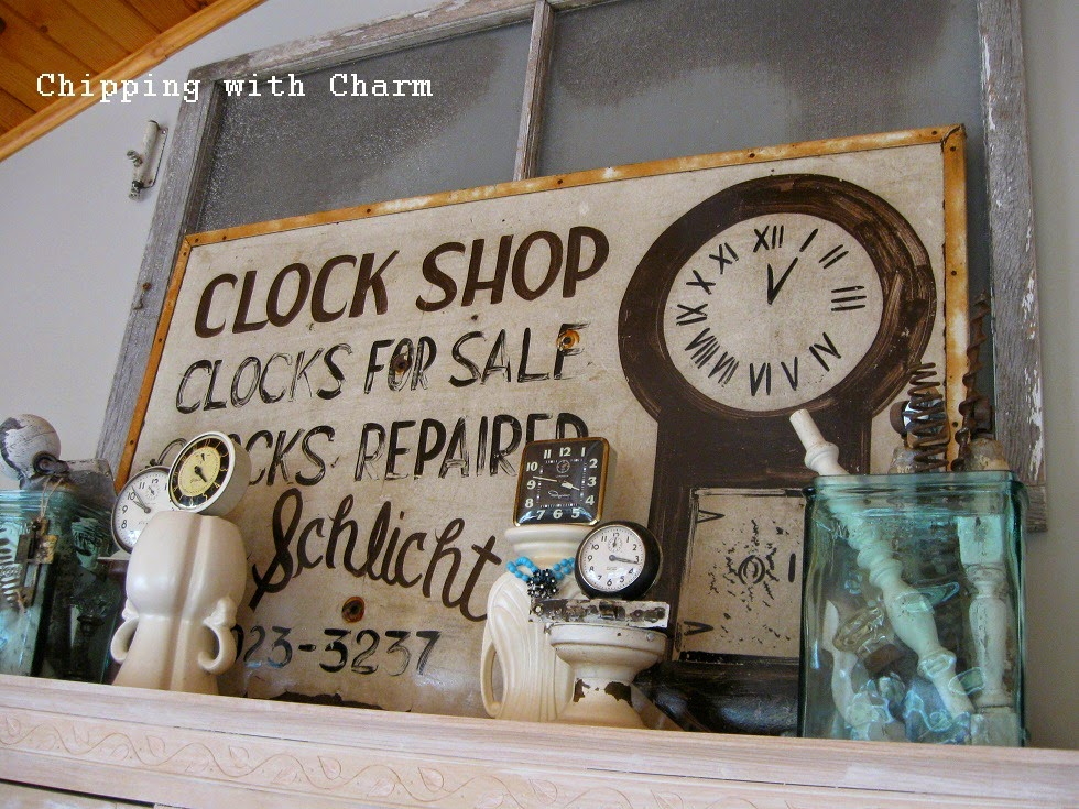 Chipping with Charm:  Vintage Clock Shop Sign...http://www.chippingwithcharm.blogspot.com/