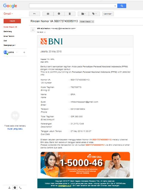 email pembayaran anggota PPNI