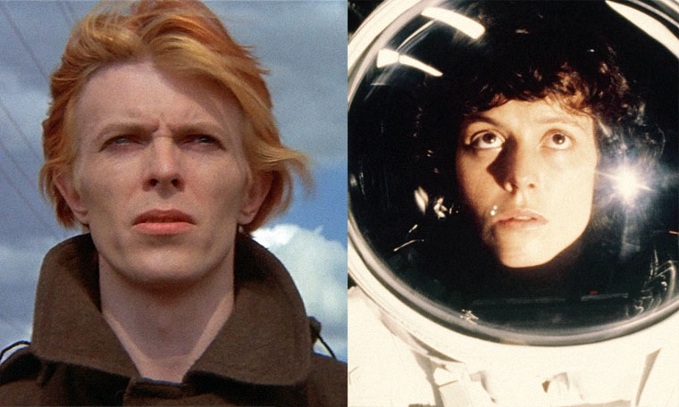 David Bowie in THE MAN WHO FELL TO EARTH / Sigourney Weaver in ALIEN (Quelle: British Lion Films / Fox)