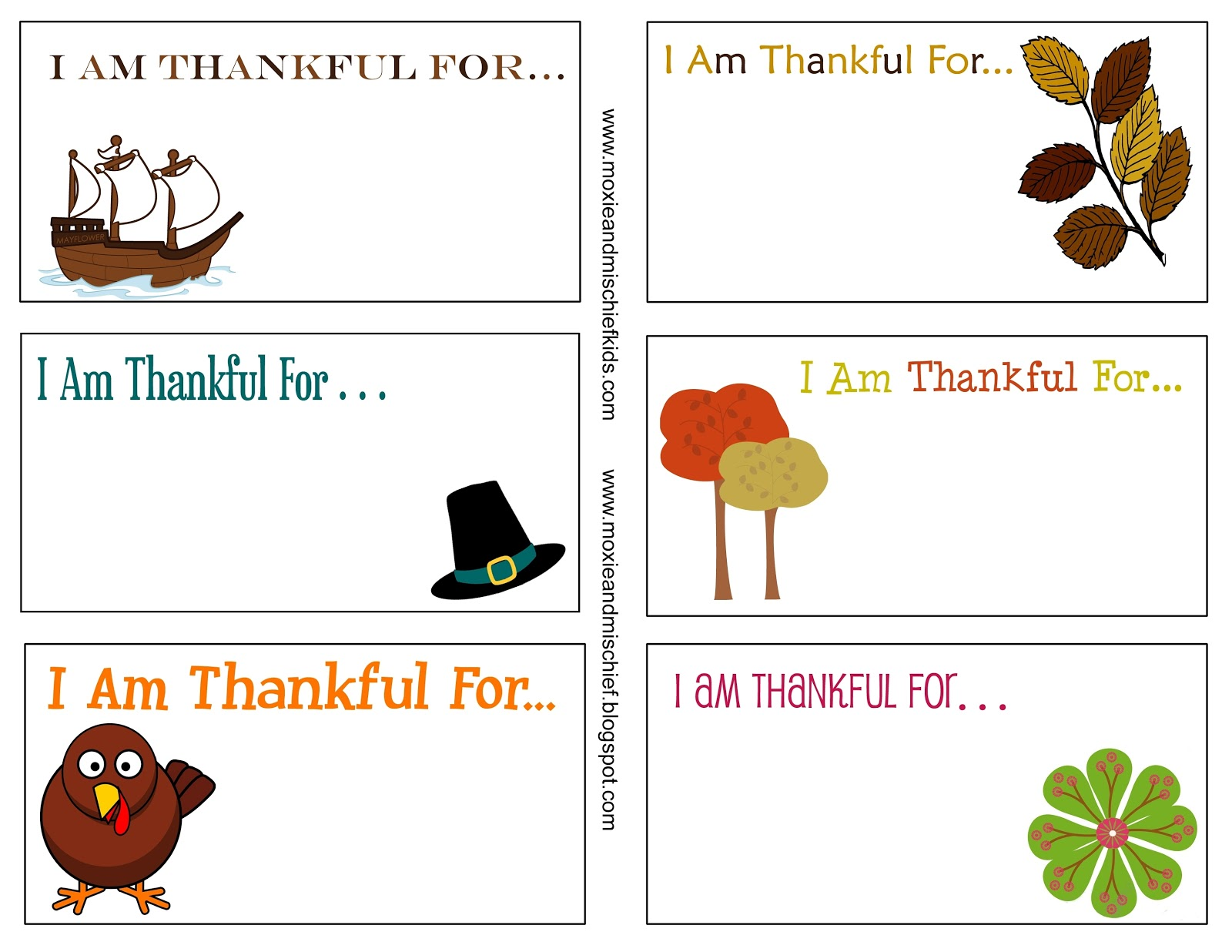 Moxie And Mischief Blog Freebies Thanksgiving Thankful Card Printables